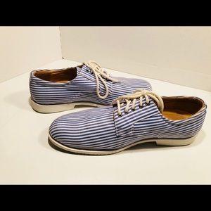 Faranzi Men's shoes 9.5 blue striped canvas EUC